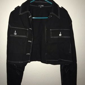 Black bean jacket with white lining